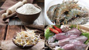 Nguyên liệu làm bánh xèo hải sản Hàn Quốc