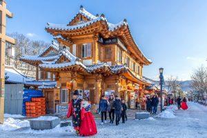 Mùa đông Hàn Quốc tinh khôi trong nắng vàng và tuyết trắng